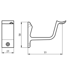 Afbeeldingen van Hermeta leuninghouder hol opschroevend zwart 3552-18