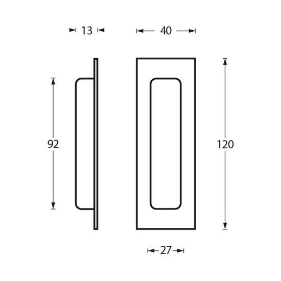 Afbeelding van Schuifdeurkom roestvaststaal 120x40 rechthoekig blind