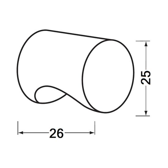 Afbeelding van Cilinderknop 25x26mm m4 zwart 3732-70