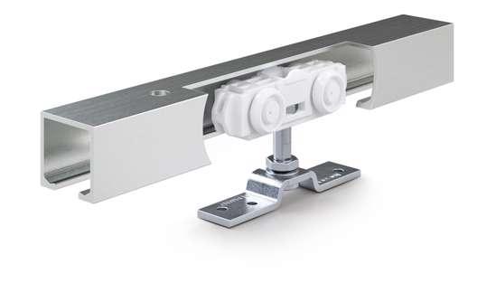 Afbeelding van Compleet schuifdeursysteem Geze Rollan 40 NT, totale lengte rail 1650mm, geschikt voor deuren van 500 t/m 840 mm