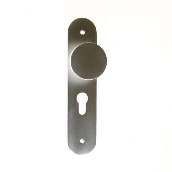 Afbeelding van Knop-/krukgarnituur aluminium op schild 45x210mm, D-model F1 afgerond model PC55 LS