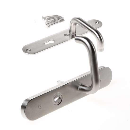 Afbeelding van Veiligheidskrukgarnituur, roestvaststaal afgerond, deurkruk Vigo, PC72 , met verstelbare kerntrek, SKG***