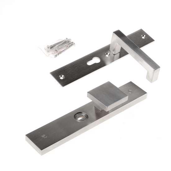 Afbeelding van Veiligheidsknopgarnituur, roestvaststaal rechthoekig, knop Almada en deurkruk Leira, PC55 , met verstelbare kerntrek, SKG***