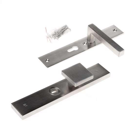 Afbeelding van Veiligheidsknopgarnituur, roestvaststaal rechthoekig, knop Almada en deurkruk Pavia, PC55 , met verstelbare kerntrek, SKG***