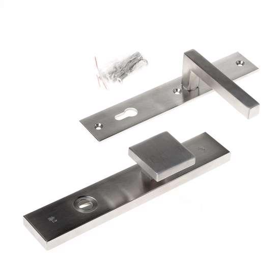 Afbeelding van Veiligheidsknopgarnituur, roestvaststaal rechthoekig, knop Almada en deurkruk Pavia, PC92 , met verstelbare kerntrek, SKG***