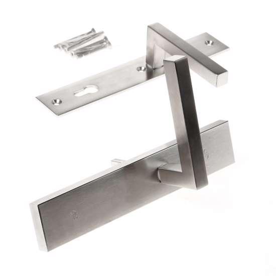 Afbeelding van Veiligheidskrukgarnituur, roestvaststaal rechthoekig, deurkruk Pavia, Blind/PC92 , met verstelbare kerntrek, SKG***
