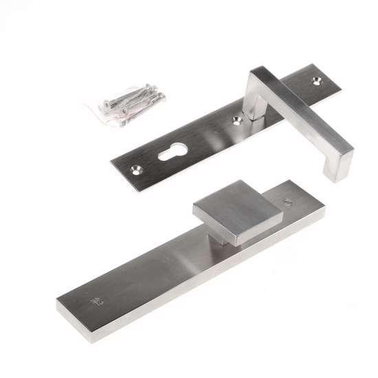 Afbeelding van Veiligheidsknopgarnituur, roestvaststaal rechthoekig, knop Almada en deurkruk Leira, Blind/PC92 , met verstelbare kerntrek, SKG***