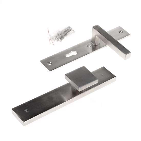 Afbeelding van Veiligheidsknopgarnituur, roestvaststaal rechthoekig, knop Almada en deurkruk Pavia, Blind/PC72 , met verstelbare kerntrek, SKG***