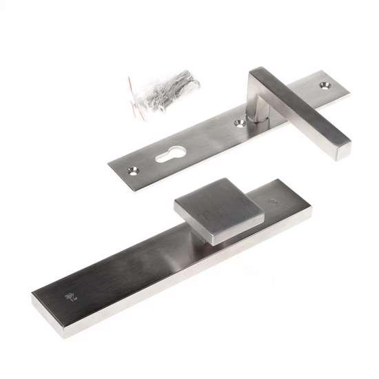 Afbeelding van Veiligheidsknopgarnituur, roestvaststaal rechthoekig, knop Almada en deurkruk Pavia, Blind/PC92 , met verstelbare kerntrek, SKG***