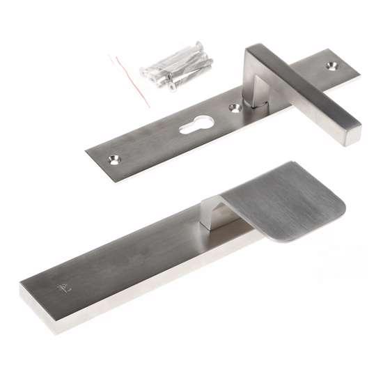 Afbeelding van Veiligheidsgreepgarnituur, roestvaststaal rechthoekig, knop Compo en deurkruk Pavia, Blind/PC55 , met verstelbare kerntrek, SKG***