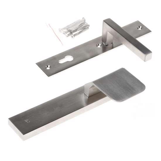 Afbeelding van Veiligheidsgreepgarnituur, roestvaststaal rechthoekig, knop Compo en deurkruk Pavia, Blind/PC92 , met verstelbare kerntrek, SKG***