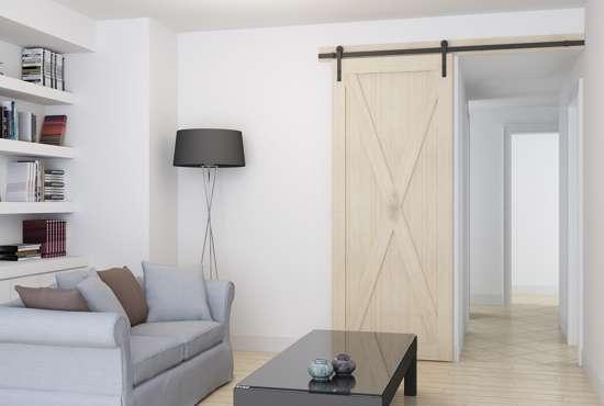 Afbeelding van Schuifdeurset 'Noor' mat zwart lengte 2 meter