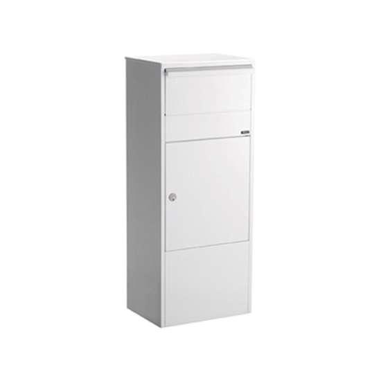 Afbeelding van Brievenbus Allux 800 wit, grote postzuil met ruimte en inworp voor pakketten. Verkrijgbaar in 5 kleuren.