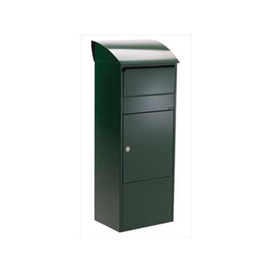 Afbeelding van Brievenbus Allux 820 groen, grote postzuil met ruimte en inworp voor pakketten. Verkrijgbaar in 5 kleuren.