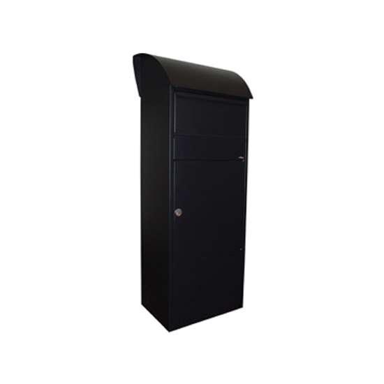 Afbeelding van Brievenbus Allux 820 zwart, grote postzuil met ruimte en inworp voor pakketten. Verkrijgbaar in 5 kleuren.