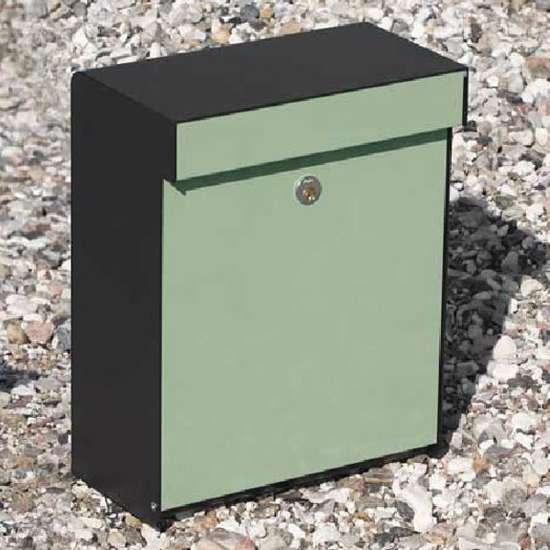 Afbeelding van Brievenbus Allux Grundform zwart/lichtgroen, modern design, ruime brievenbus. Verkrijgbaar in 7 uitvoeringen.