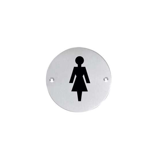 Afbeelding van Intersteel Pictogram damestoilet rond roestvaststaal geborsteld