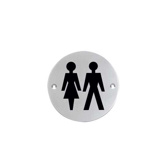 Afbeelding van Intersteel Pictogram dames- en herentoilet rond roestvaststaal geborsteld