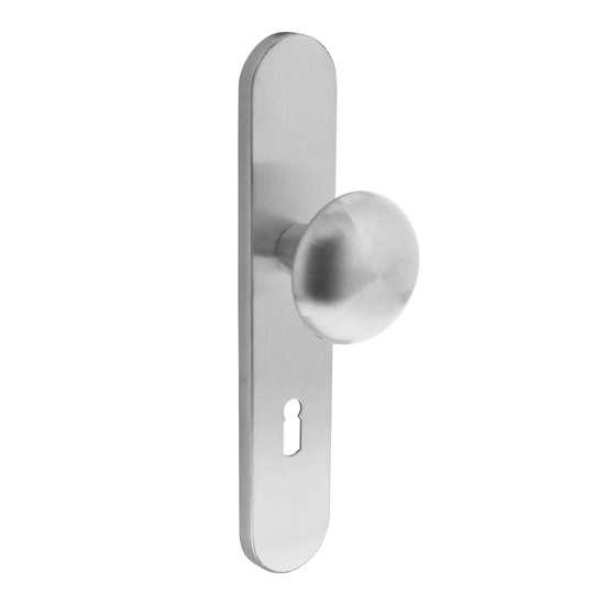 Afbeelding van Intersteel Knop Paddenstoel op schild met nok sleutelgat 72 mm roestvaststaal geborsteld