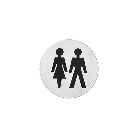 Afbeelding van Intersteel Pictogram dames- en herentoilet zelfklevend rond roestvaststaal geborsteld