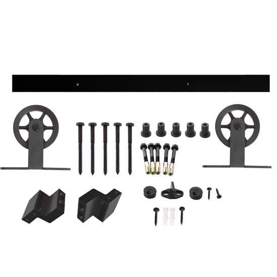 Afbeelding van Intersteel Schuifdeursysteem Wheel Top mat zwart