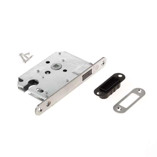 Afbeelding van Intersteel magneet cilinder woningbouw dag- en nachtslot PC55 met roestvaststaal voorplaat 20X175 mm, inclusief sluitkom