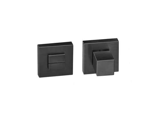 Afbeelding van Vrij en bezet garnituur QUADRO rozet 50x50 mm met stift 6mm zwart PVD