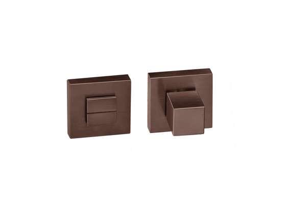 Afbeelding van Vrij en bezet garnituur QUADRO rozet 50x50 mm met stift 6mm donker brons PVD