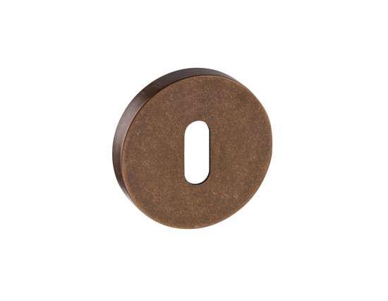 Afbeelding van Sleutel rozetten 50x8 mm met nylon onderrozet brons gestraald