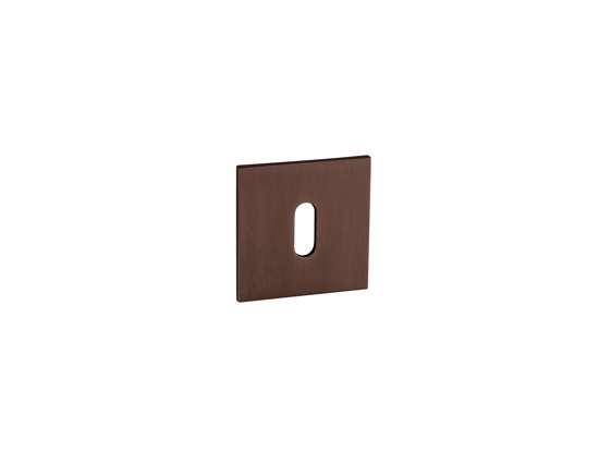 Afbeelding van Sleutelrozetten 50x50x8 mm met metalen bevestigings rozet donker brons PVD