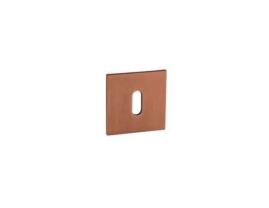 Afbeelding van Sleutelrozetten 50x50x8 mm met metalen bevestigings rozet brons PVD