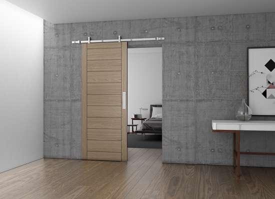 Afbeelding van Schuifdeur set Charriot 1700mm voor houten deur compleet max 60 kg alu roestvaststaal kleur