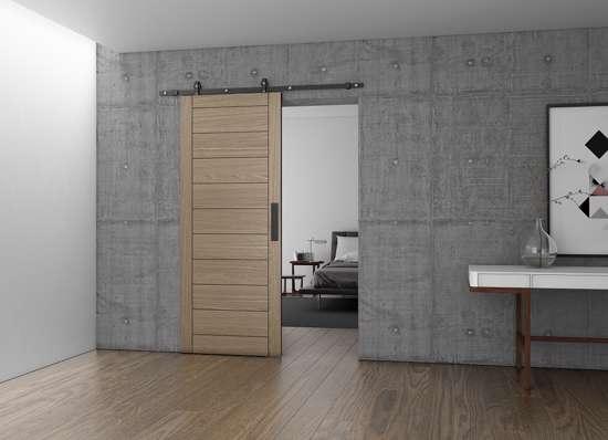Afbeelding van Schuifdeur set Charriot 1700mm voor houten deur compleet max 60 kg alu mat zwart