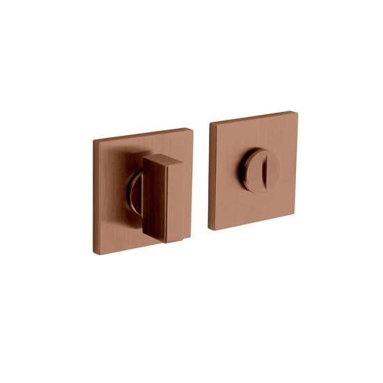 Afbeelding van Olivari rozet toilet-/badkamersluiting vierkant koper mat titaan PVD