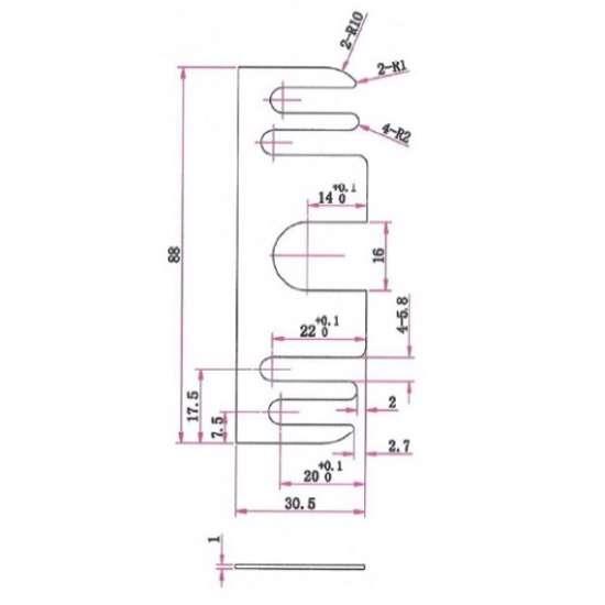 Afbeelding van Uitvulplaatje zwart tbv glijlagerscharnier