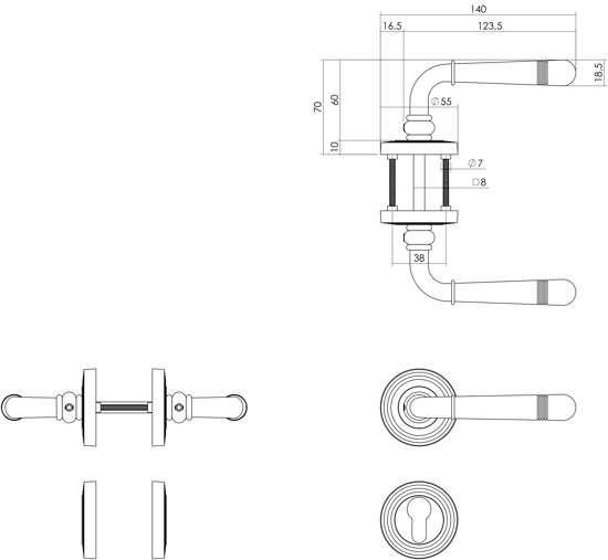 Afbeelding van Intersteel Woningbouw toilet-/badkamerslot wit 63/8 mm