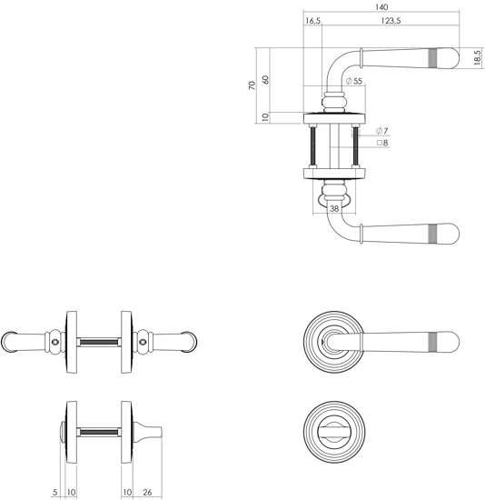 Afbeelding van Intersteel Woningbouw klavier kastslot 55 mm wit