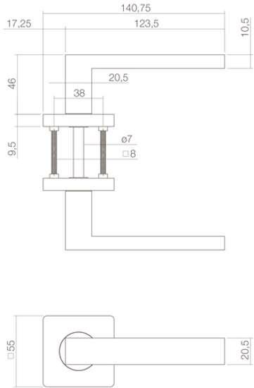 Afbeelding van Deurkruk Hera op vierkant rozet 55x55x10mm met nokken wit