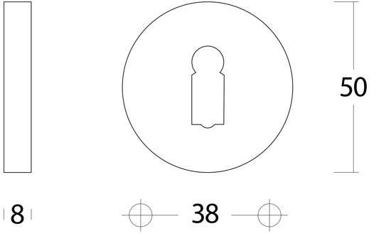 Afbeelding van Intersteel Raamespagnolet afsluitbaar rechts nikkel mat