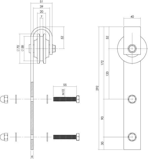 Afbeelding van Intersteel Set van 2 hangrollen recht 290 mm mat zwart