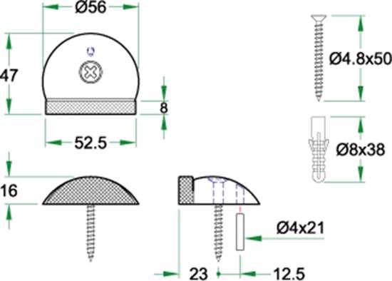 Afbeelding van Oxloc deurstopper roestvaststaal vloer 61995