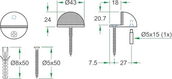 Afbeelding van Oxloc deurstopper roestvaststaal mat vloer 61997