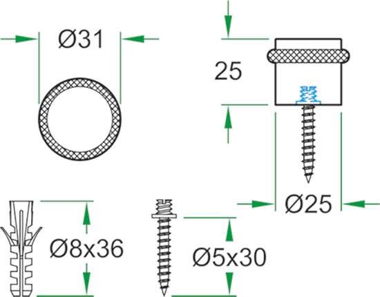 Afbeelding van Oxloc deurstopper  roestvaststaal vloer 61998