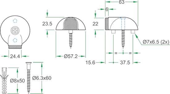 Afbeelding van Oxloc deurstopper roestvaststaal mat vloer 57x23