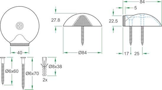 Afbeelding van Oxloc deurstopper roestvaststaal vloer 62000
