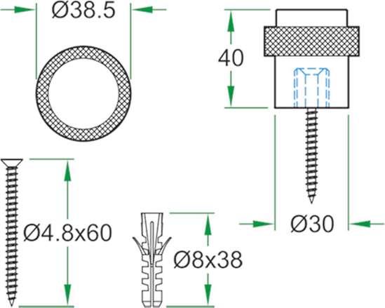 Afbeelding van Oxloc deurstopper roestvaststaal vloer 62002