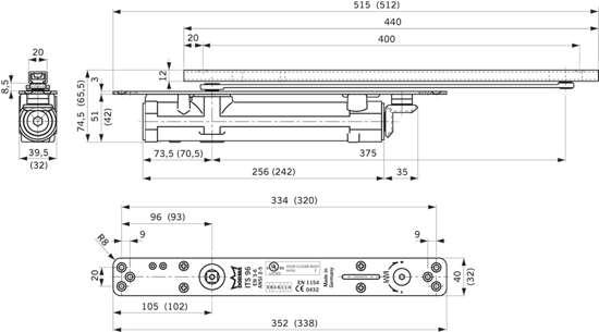 Afbeelding van Deurdranger inbouw 45mm its96 2-4 z/arm