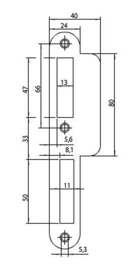 Afbeelding van Nemef Sluitplaat type p7200/17 rs afgeafgeronde hoeken DIN links