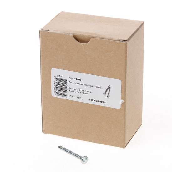 Afbeelding van AIS 4040B Anti-inbraakschroef 4.0 x 40mm staal verzinkt 0112.400.4040