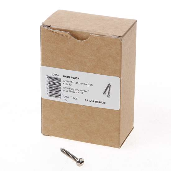 Afbeelding van RAIS 4030B Anti-inbraakschroef 4.0 x 30mm RVS 0112.420.4030